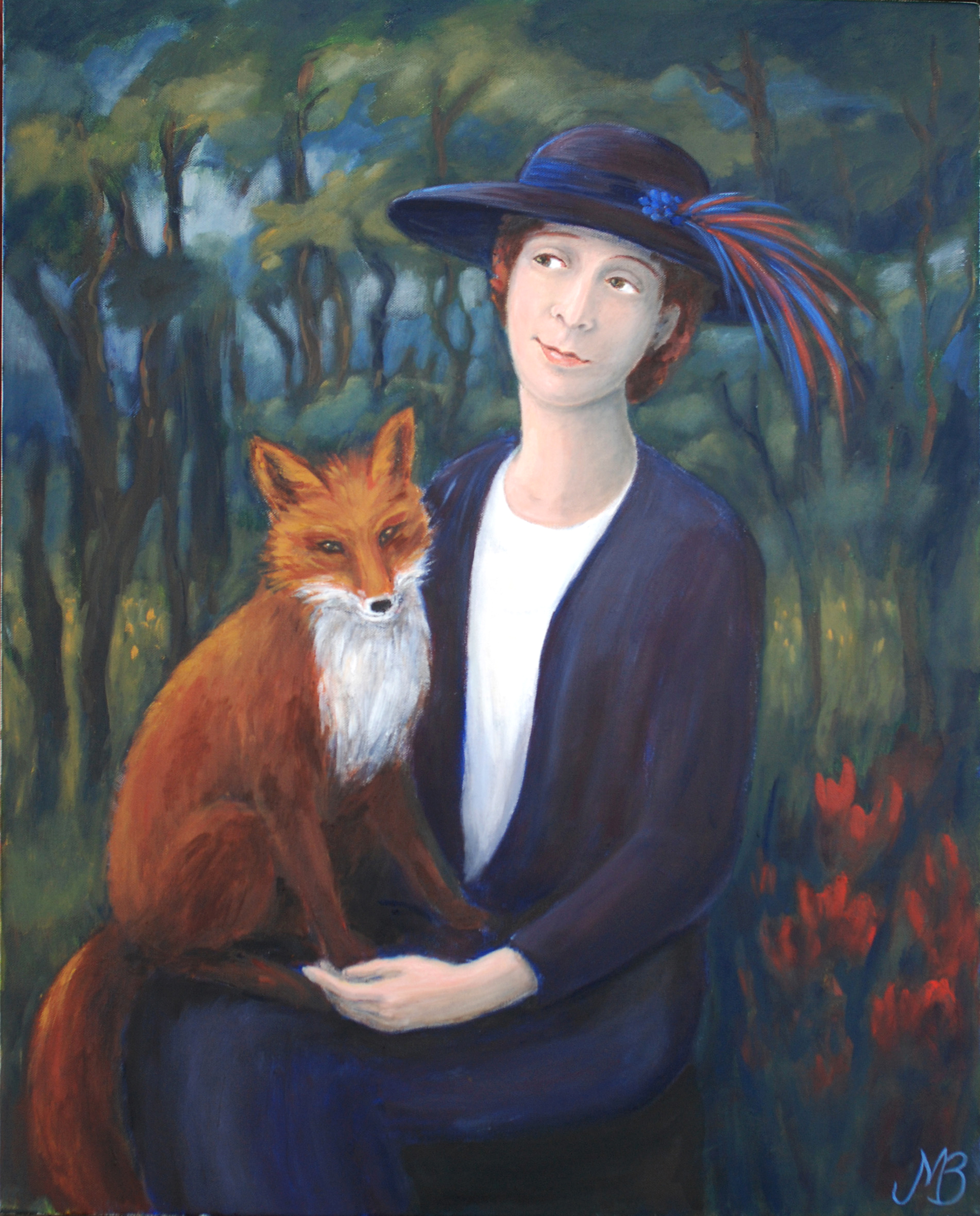 """Lady with fox"" Oil  65x81cm"