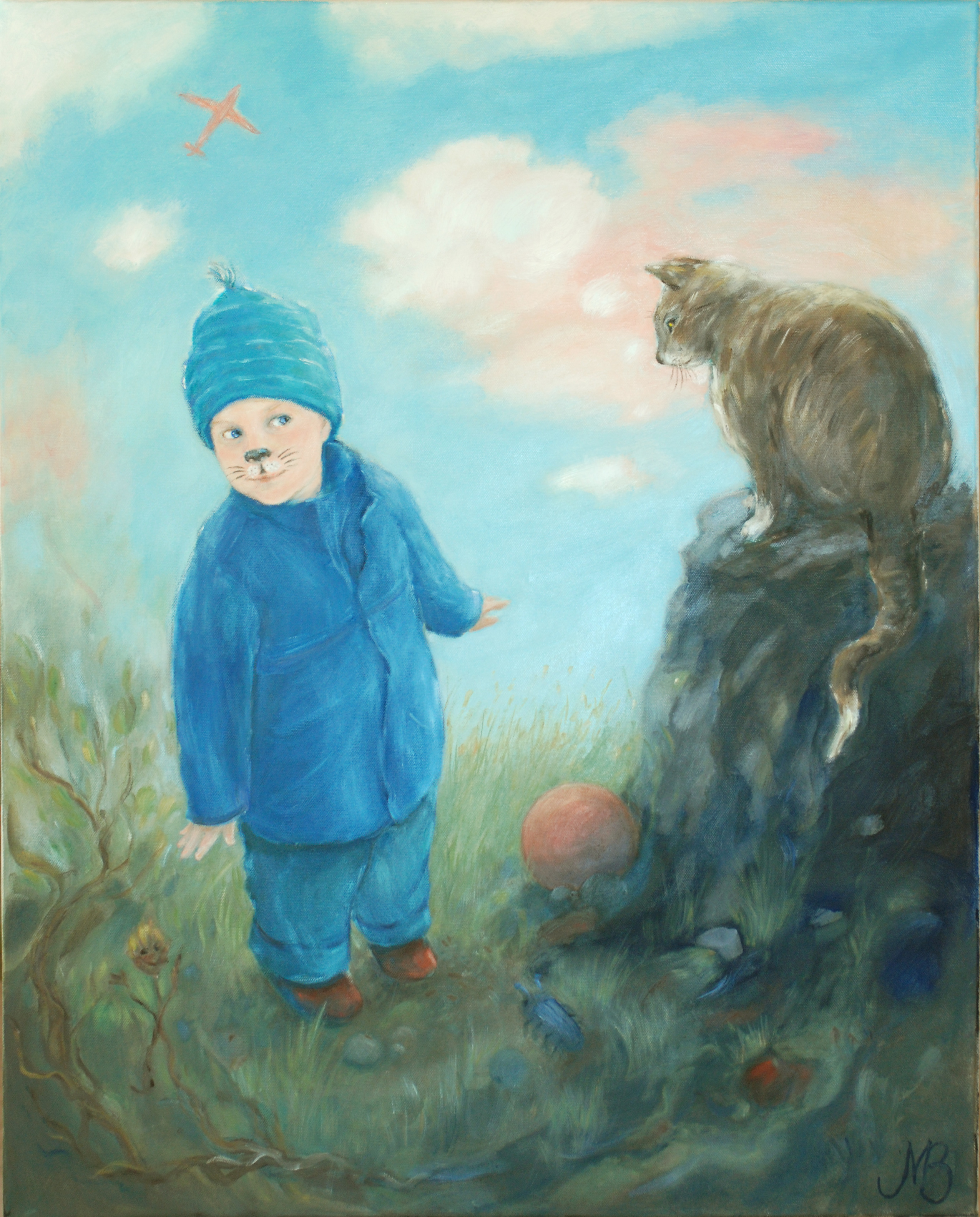 """Cat boy"" Oil  76x58cm"